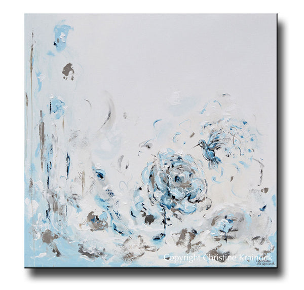 Sold Original Abstract Painting Pearl White Blue Wall Art: ORIGINAL Art Abstract Painting Hummingbird Blue White Grey