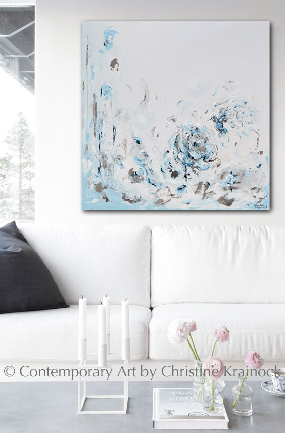 ORIGINAL Art Abstract Painting Hummingbird Light Blue White Grey Floral Wall Art Home Decor 40x40""