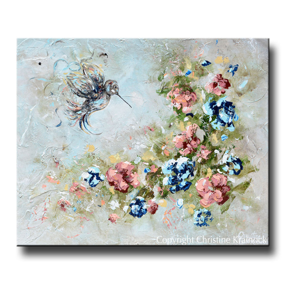 ORIGINAL Art Abstract Floral Painting Hummingbird Textured Navy Blue White Grey Pink Flowers Wall Art Home Decor 24x20""