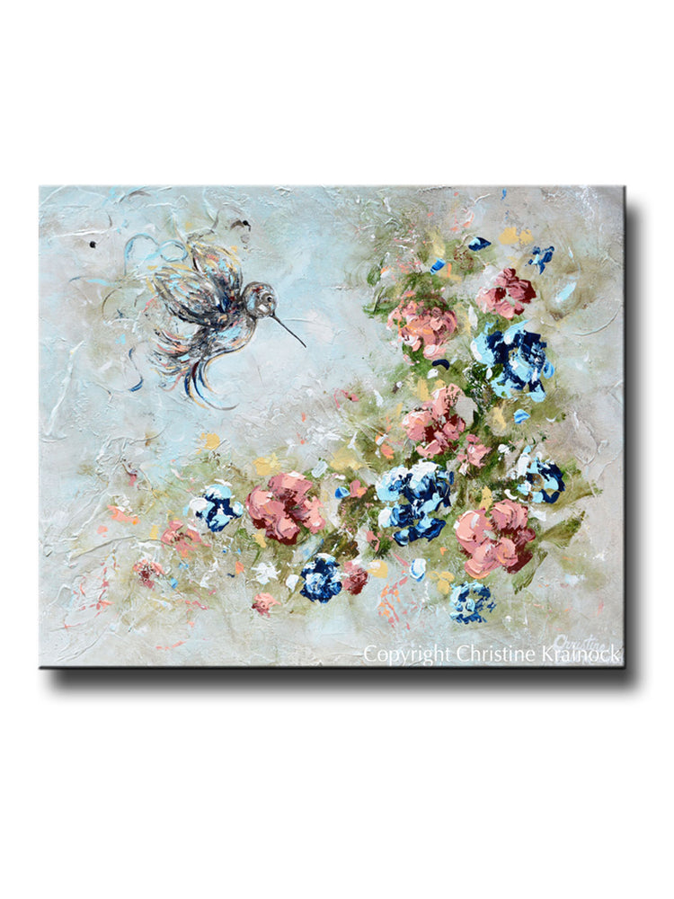 """Bringing Light & Love"" GICLEE PRINT Art Abstract Floral Painting Hummingbird and Garden Flowers"