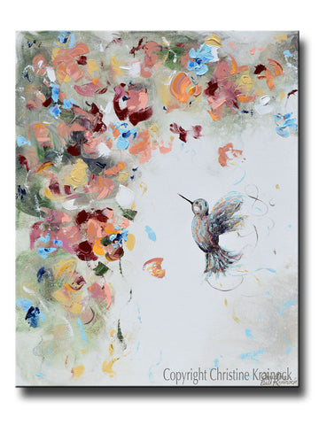 ORIGINAL Art Abstract Floral Painting Hummingbird Textured Flowers Blue White Rose Gold Decor 24x30""