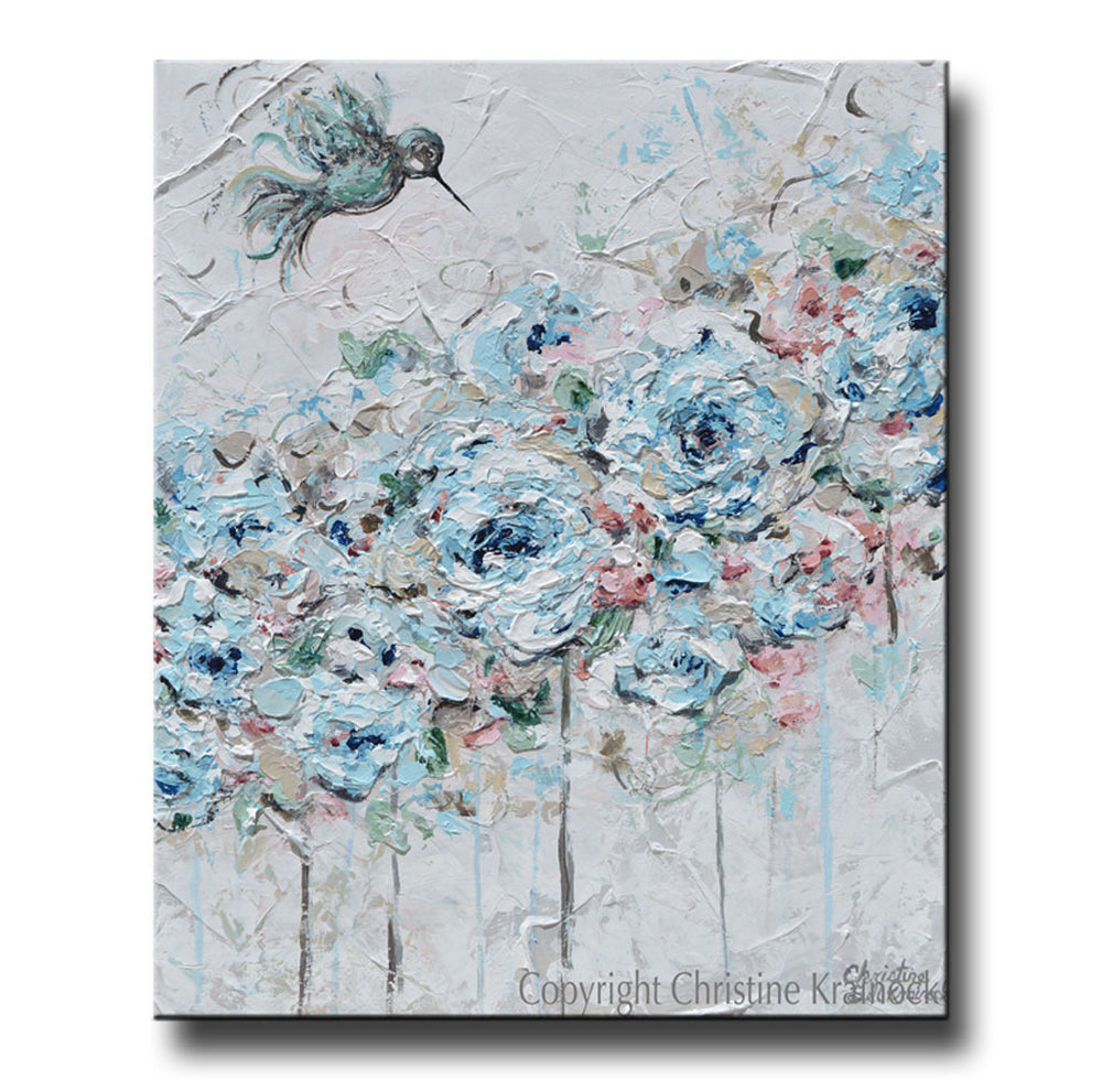 ORIGINAL Art Abstract Hummingbird Painting Light Blue Teal White Grey Pink Flowers Floral Wall Art Home Decor 20x24""