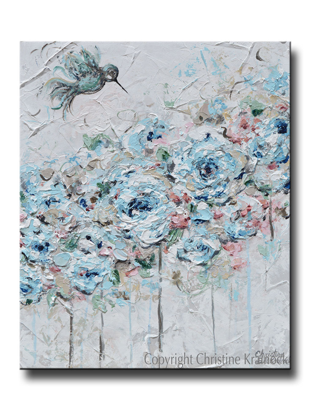 Original art abstract hummingbird painting blue green flowers decor original art abstract hummingbird painting light blue teal white grey pink flowers floral wall art home decor 20x24 mightylinksfo