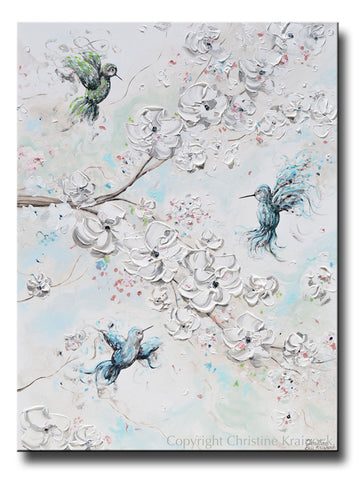 ORIGINAL Art Abstract Floral Painting Hummingbirds Cherry Blossoms Textured Blue White Green Wall Art Home Decor 30x40""