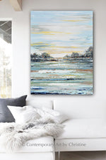 """Peaceful Morning"" ORIGINAL Art Abstract Landscape Painting Trees Textured 30x40"""