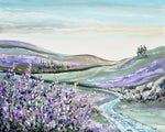 """Laced in Lavender"" ORIGINAL Art Abstract Landscape Painting Textured Lavender Flowers River Horizon 30x24"""