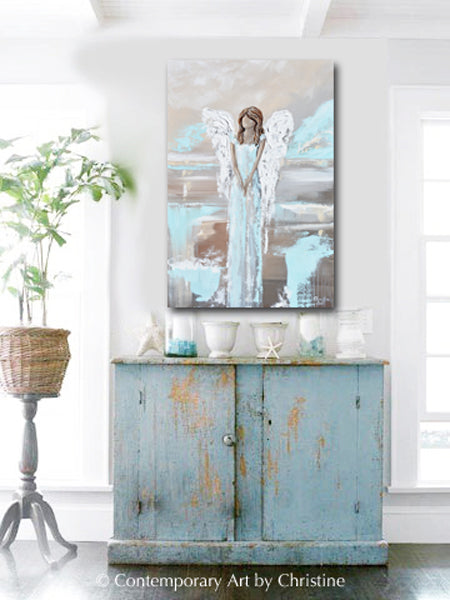 """Found Hope"" ORIGINAL Abstract Angel Painting Elegant Guardian Angel Blue White 24x36"""