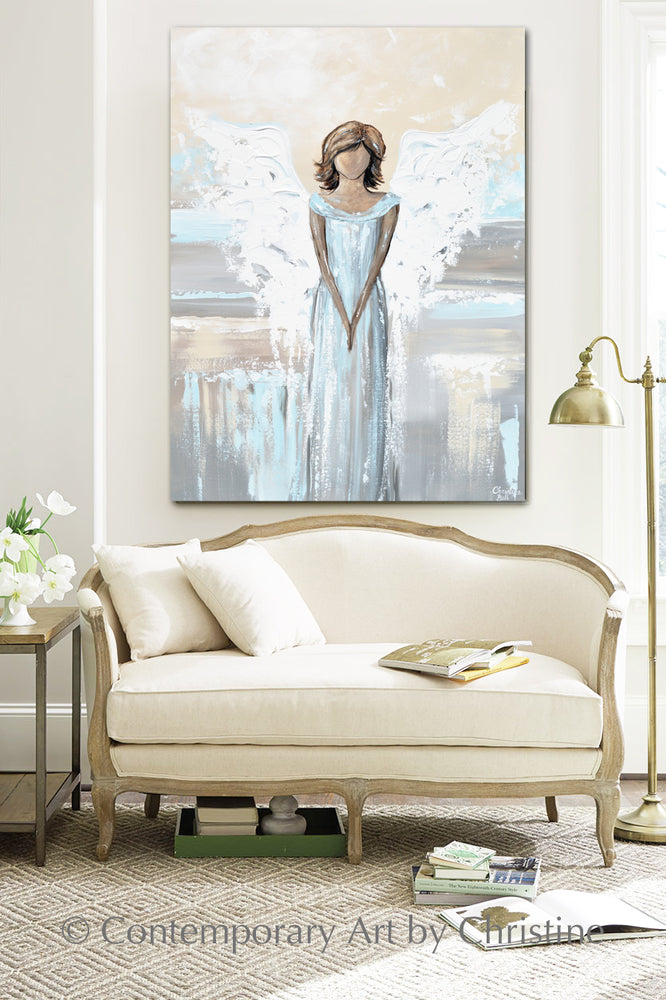 """My Love is with You"" ORIGINAL Abstract Angel Painting Elegant Guardian Angel Light Blue White 30x40"""