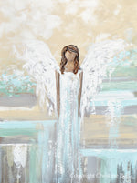 """Trust Your Angel"" ORIGINAL Abstract Angel Painting Elegant Guardian Angel Blue White 30x40"""