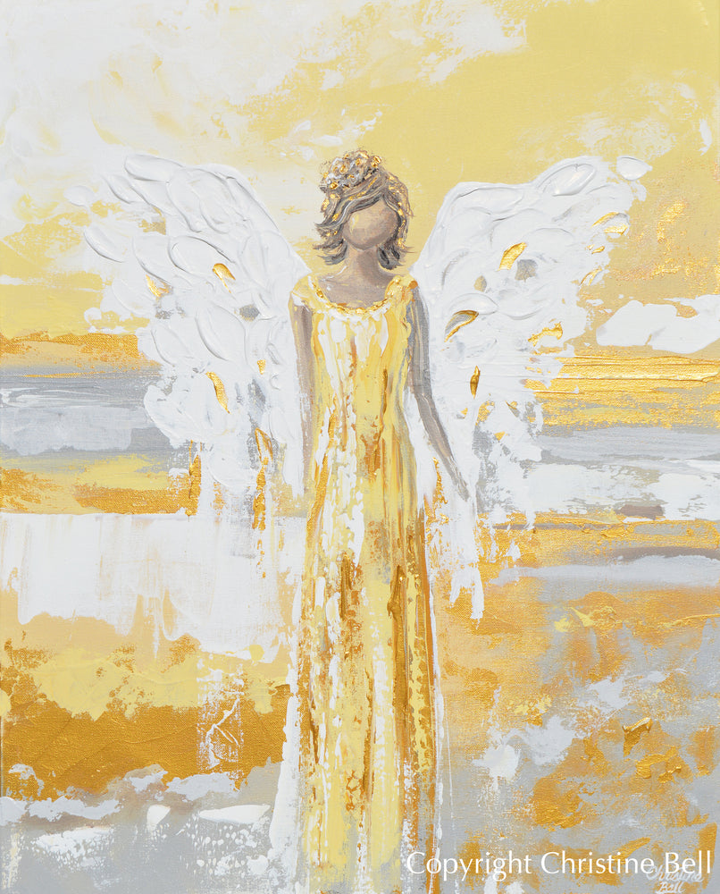 """Your Guiding Light"" CANVAS PRINT Abstract Angel Painting Guardian Angel Art Gold Leaf White Grey"