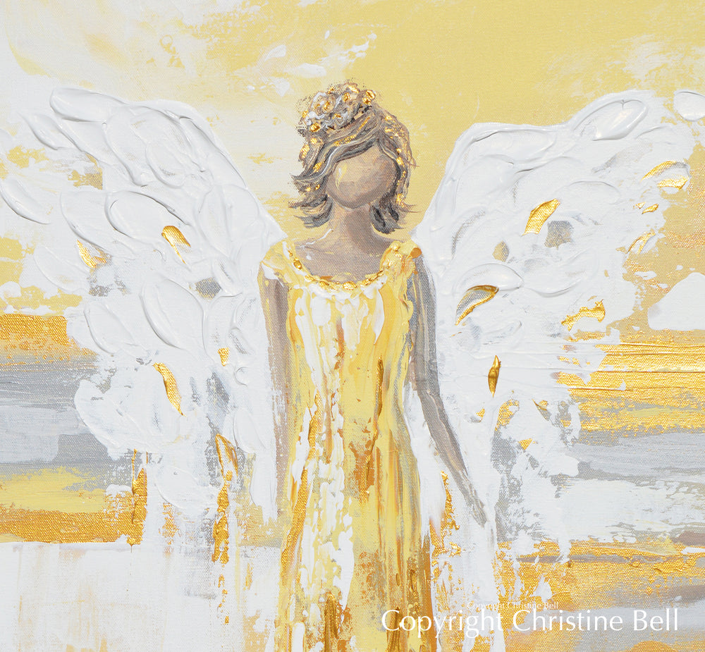 """Your Guiding Light"" ORIGINAL Abstract Angel Painting Guardian Angel Gold Leaf White Grey 24x30"""