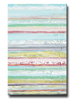 ORIGINAL Art Abstract Painting Yellow Turquoise Blue Pink Stripes Textured Modern Wall Decor 36x24""