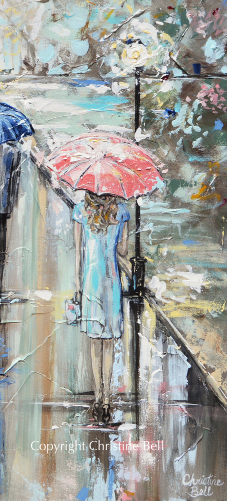 """Central Park"" Giclee Canvas Print, Impressionist Landscape, People w/ Umbrellas Rain Park"
