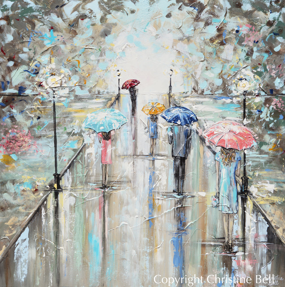 """Central Park"" ORIGINAL Art Abstract Painting Landscape Girl w Umbrella Trees Textured 36x36"""