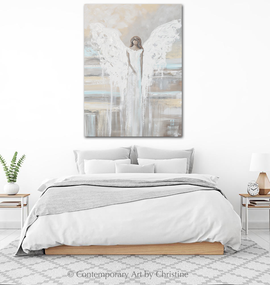 SPECIAL RELEASE GICLEE PRINT Abstract Angel Painting ANGEL OF LOVE Spiritual Grey Blue Cream Decor