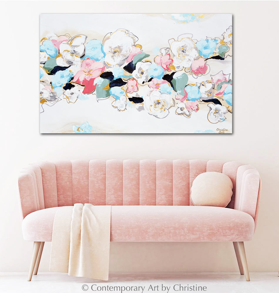 """Live Life in Full Bloom"" ORIGINAL Art Abstract Floral Painting Blue Pink White Modern Flowers Wall Art XL 48x30"""