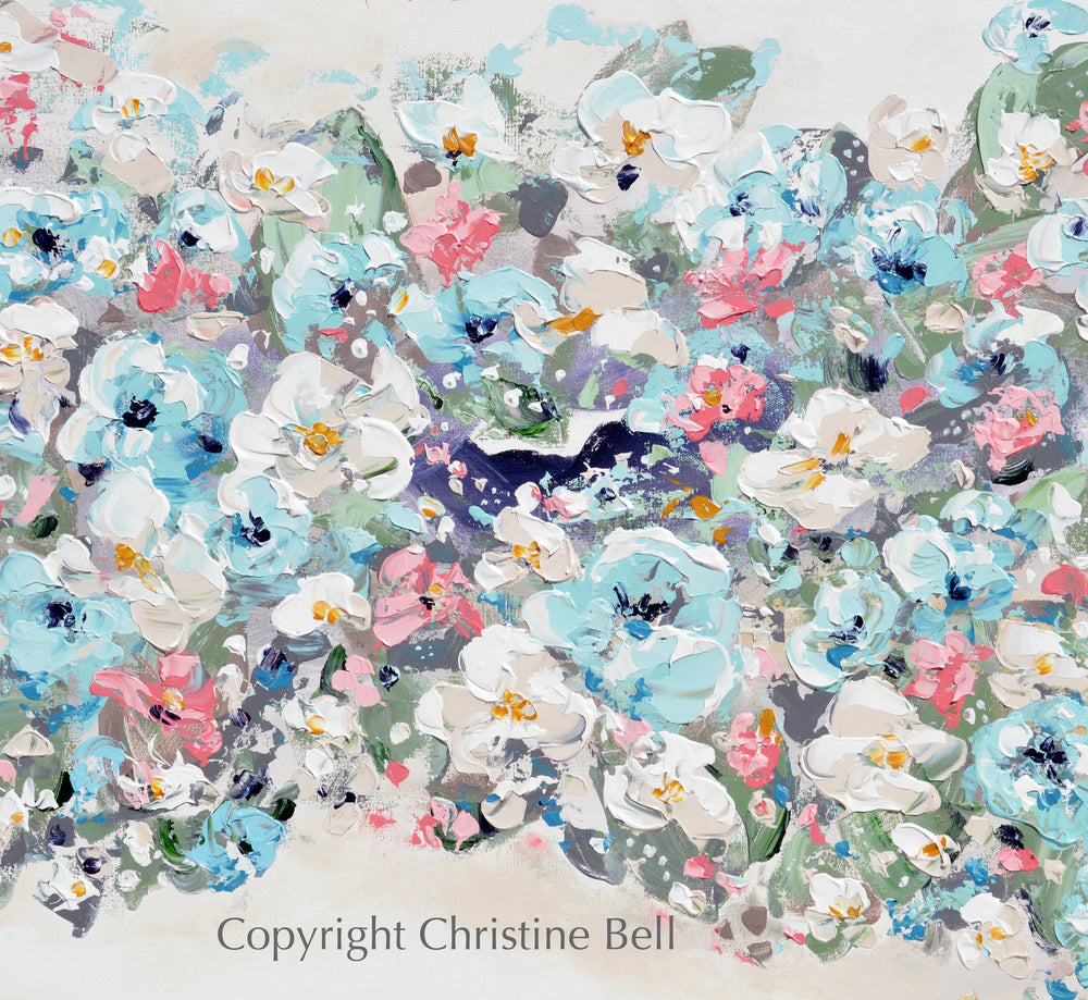 """Abundance"" ORIGINAL Art Abstract Floral Painting Textured Light Blue Pink White Modern Flowers Wall Art 40x30"""""