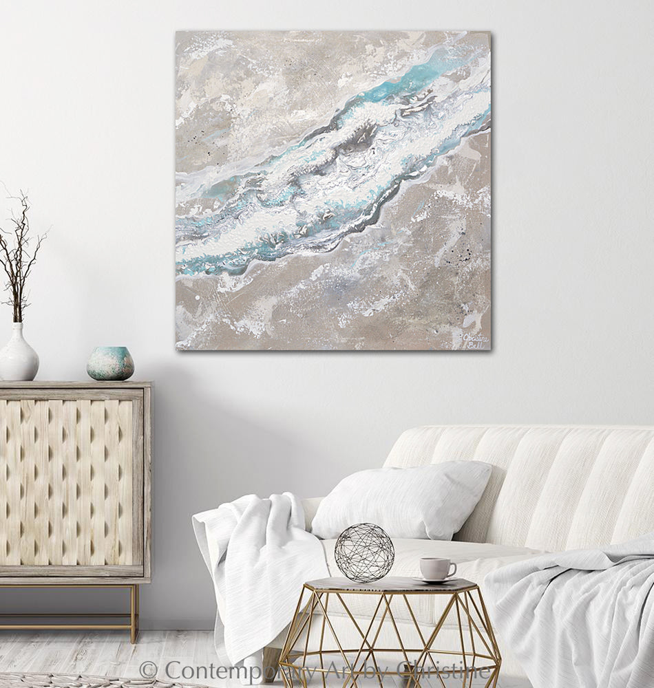 """Sea-stone"" ORIGINAL Art Neutral Coastal Abstract Painting White Taupe Beige Grey Aqua 30x30"""