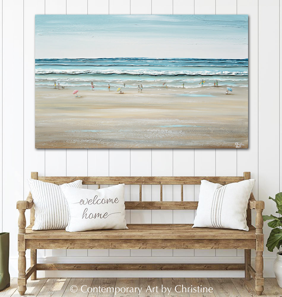 """Seas the Day"" ORIGINAL Art Coastal Abstract Painting Textured Ocean Waves Figurative Beach Goers Blue White 48x30"""