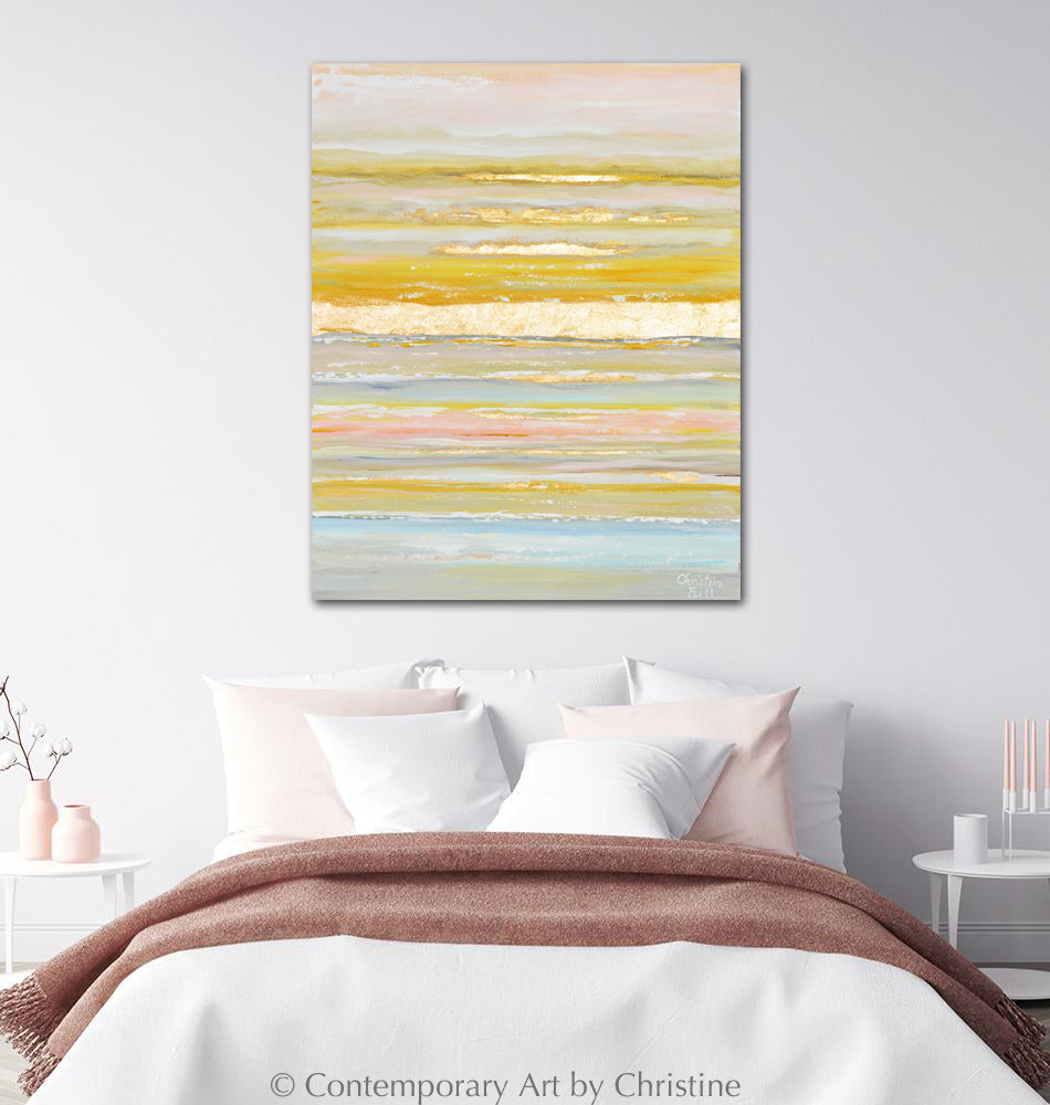 """Daydreams"" ORIGINAL Art Coastal Abstract Painting Gold Leaf Pastel Light Blue Pink 24x30"""