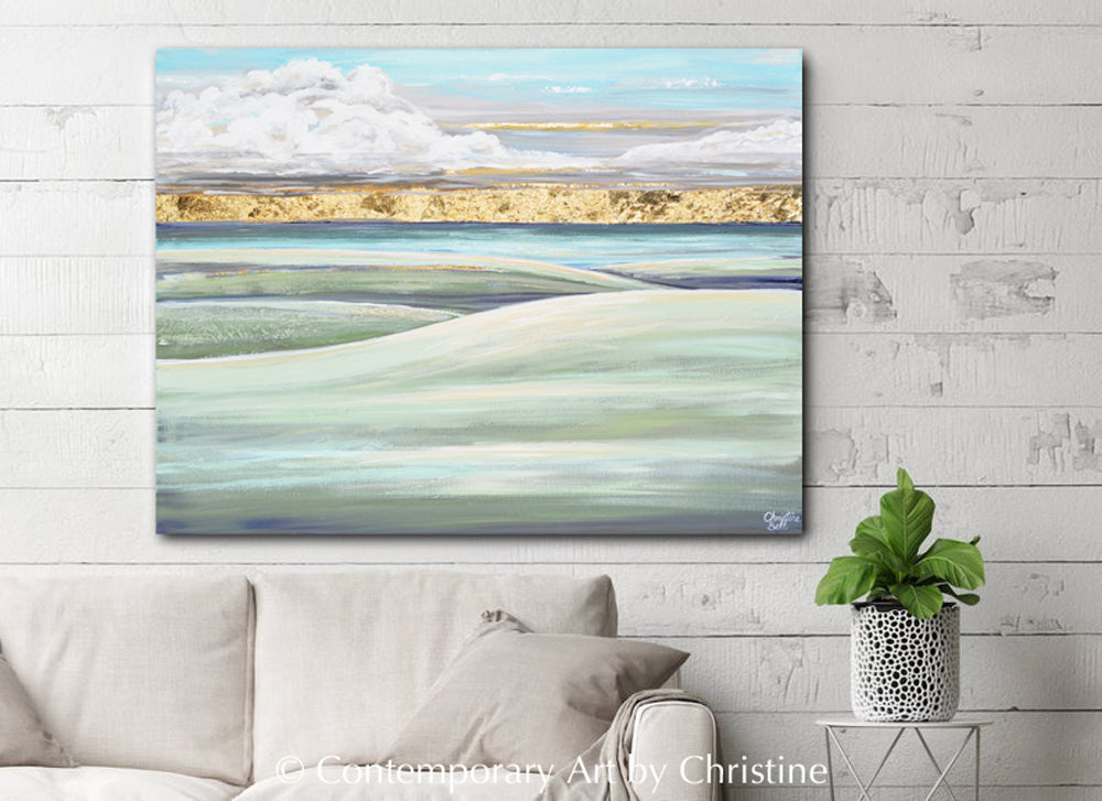"""Hope on the Horizon"" ORIGINAL Art Coastal Abstract Landscape Painting Sunrise Hills Ocean Lake Gold Leaf 40x30"""