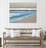 """Peaceful Reflections"" ORIGINAL Art Coastal Abstract Painting Seascape Sunrise Ocean Beach Gold Leaf 40x30"""