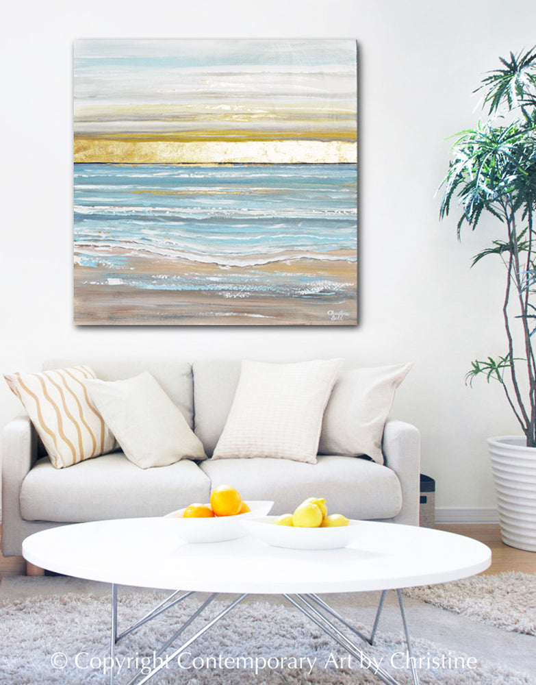 """Here Comes the Sun"" ORIGINAL Art Coastal Abstract Painting Seascape Sunrise Ocean Beach Gold Leaf 36x36"""