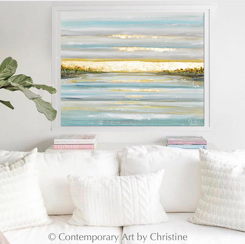 """Morning's First Light"" ORIGINAL Art Coastal Abstract Painting Seascape Sunrise Ocean Lake Gold Leaf 30x24"""