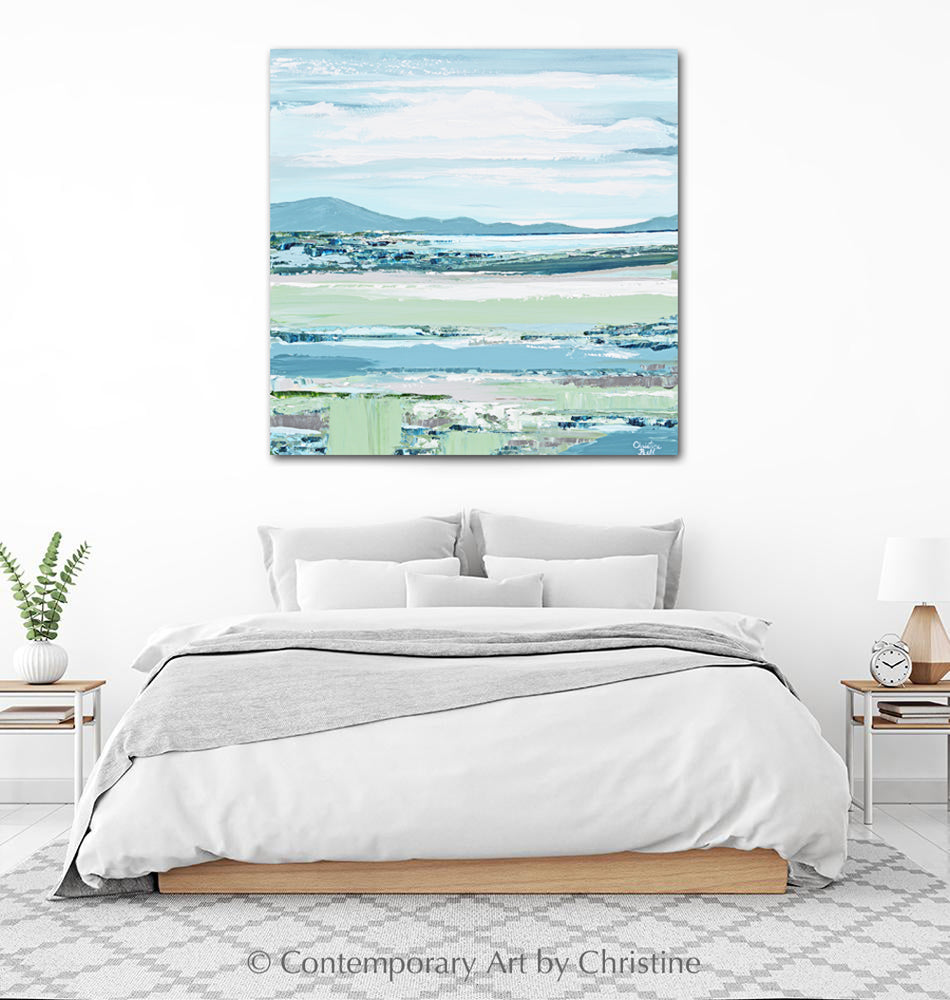 """Your Happy Place"" ORIGINAL Art Coastal Abstract Painting Textured Landscape Blue Green Hills Seascape Lake 30x30"""
