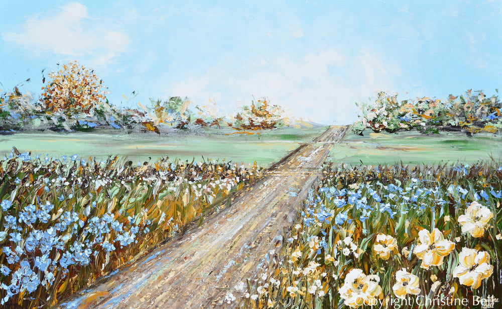 """Journey Down Life's Beautiful Path"" ORIGINAL Art Abstract Landscape Painting Flowers Textured 48x30"""