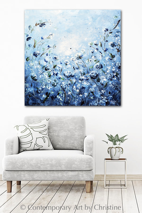 """Moonlight Symphony"" GICLEE PRINT Art Abstract Floral Painting Blue White Flowers"