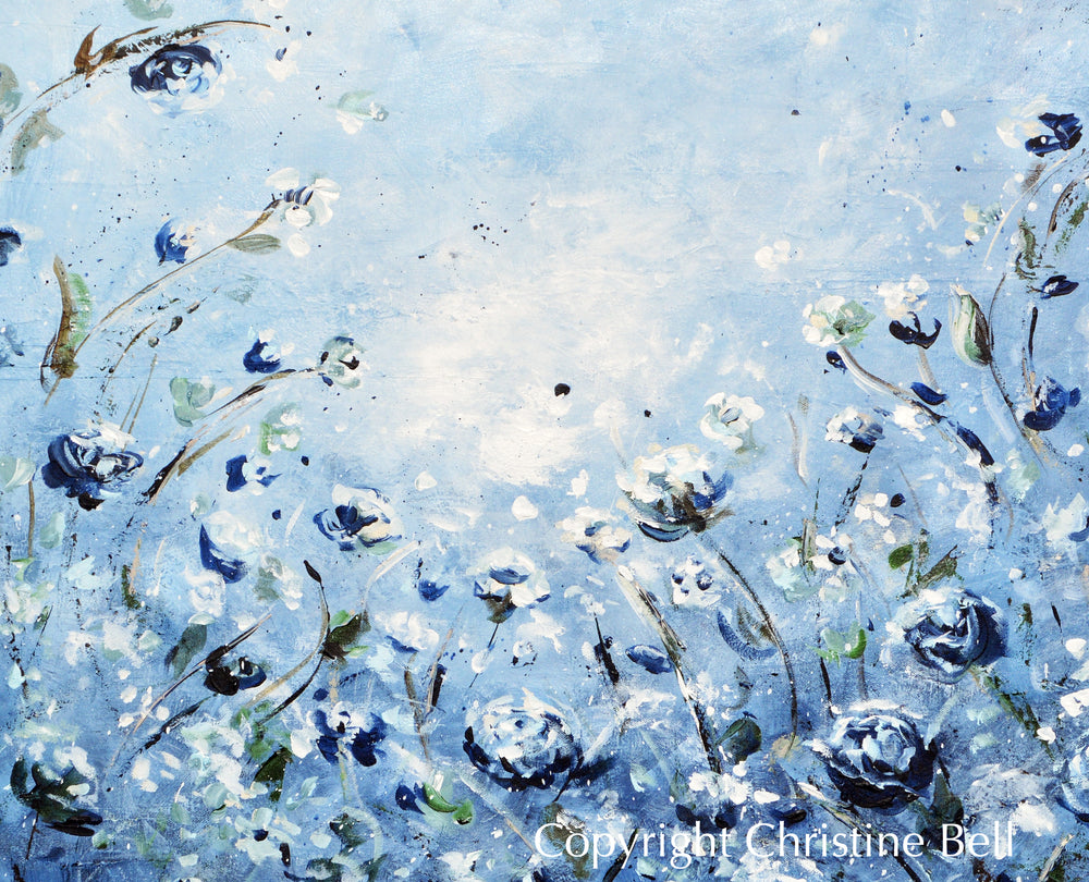 """Moonlight Symphony"" ORIGINAL Art Abstract Floral Painting Blue White Flowers 36x36"""