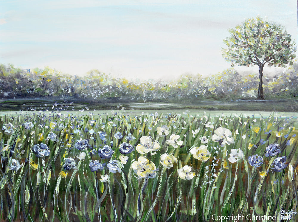 """A Place of Peace"" ORIGINAL Art Floral Landscape Painting White Flowers Field Tree 40x30"""