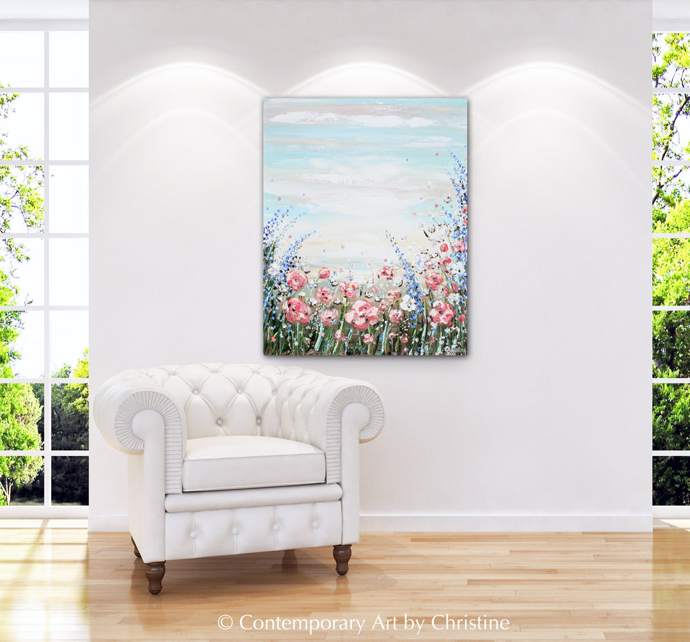 """Found Hope"" ORIGINAL Art Abstract Floral Wildflowers Painting Textured Landscape 24x30"""