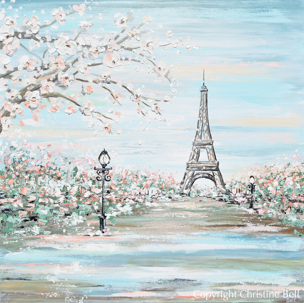"""Amour de Paris"" GICLEE PRINT Art Paris Painting Eiffel Tower Romantic Cherry Trees Cityscape"