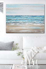 """Float with the Tide"" ORIGINAL Art Coastal Abstract Painting Textured Ocean Beach Aqua Blue Beige 40x30"""