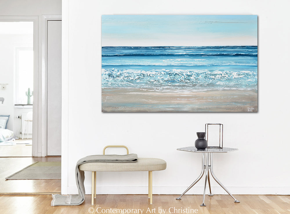 """Sparkling Sea"" ORIGINAL Art Coastal Abstract Painting Ocean Textured Waves Blue Beach 48x30"""