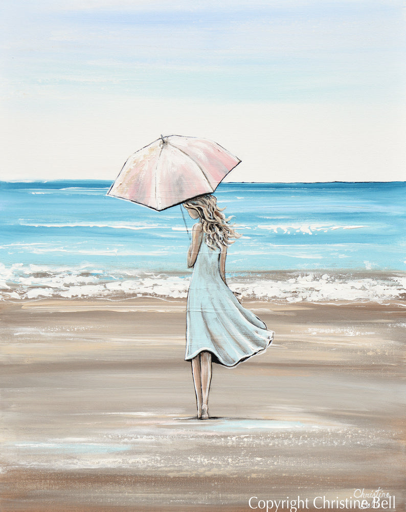 """Just a Beach Girl at Heart"" ORIGINAL Art Painting Woman with Pink Umbrella Beach Ocean 24x30"""