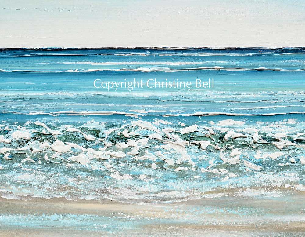 "DEPOSIT FOR MERRILL- ""At the Seaside"" ORIGINAL Art Coastal Abstract Painting Textured Beach Ocean Waves Blue 48x30"""