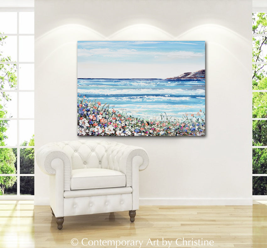 """La Jolla Cove"" ORIGINAL Art Coastal Abstract Painting Textured Ocean Beach Wildflowers Seascape 40x30"""