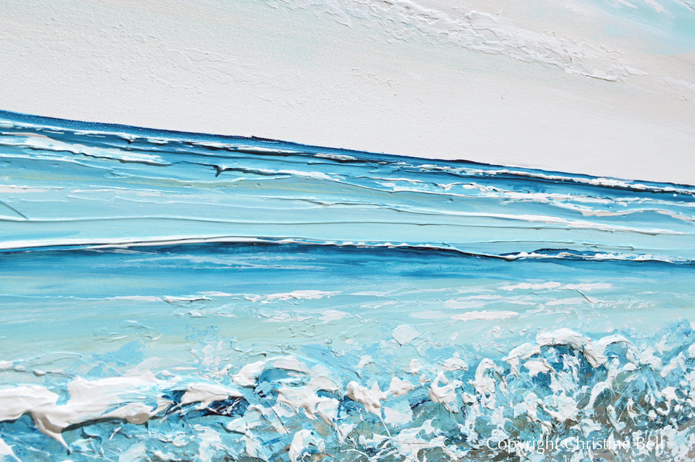 """Seaside Serenity"" ORIGINAL Art Coastal Abstract Painting Textured Ocean Waves Blue Beach 48x30"""