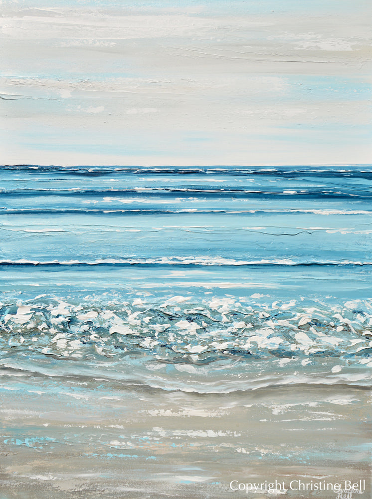 """Crystal Waters"" ORIGINAL Art Coastal Abstract Painting Textured Ocean Waves Beach Light Blue 30x40"""