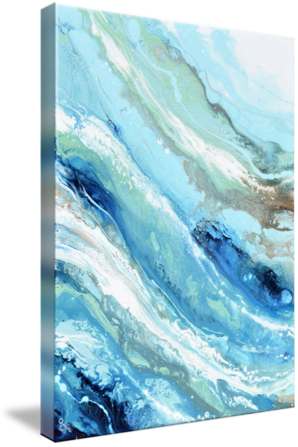 """Pacific Blue"" GICLEE PRINT Art Blue White Turquoise Coastal Abstract Painting Marbled Wall Art"