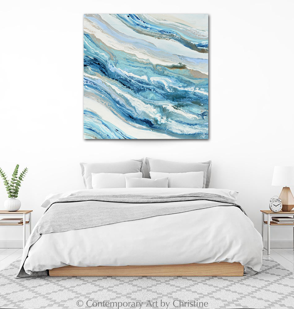 """Coastal Melody"" GICLEE PRINT Art Blue White Aqua Coastal Abstract Painting Marbled Coastal Wall Art"