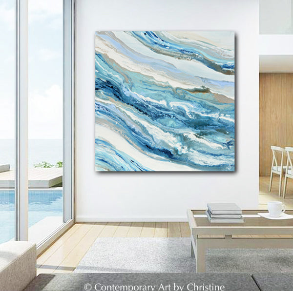 """Coastal Melody"" ORIGINAL Art Blue White Aqua Coastal Abstract Painting Marbled Coastal Wall Art 36x36"""