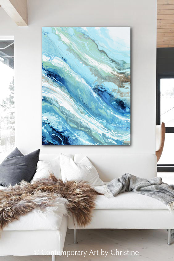 """Pacific Blue"" ORIGINAL Art Blue White Turquoise Coastal Abstract Painting Marbled Coastal Wall Art 40x30"""