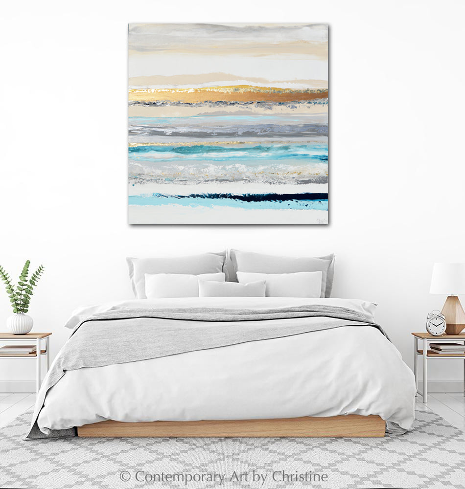 """Reflective Thoughts"" ORIGINAL Art Coastal Abstract Painting Aqua Blue White Gold Leaf Wall Art 40x40"""