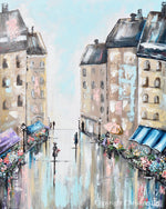 """The Flower Market"" ORIGINAL Art Abstract Painting Paris Cityscape Modern Impressionism Floral Figurative Umbrella 24x30"""