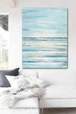 """Upon the Waves"" ORIGINAL Art Coastal Abstract Painting Textured Light Aqua Blue Teal White 30x40"""