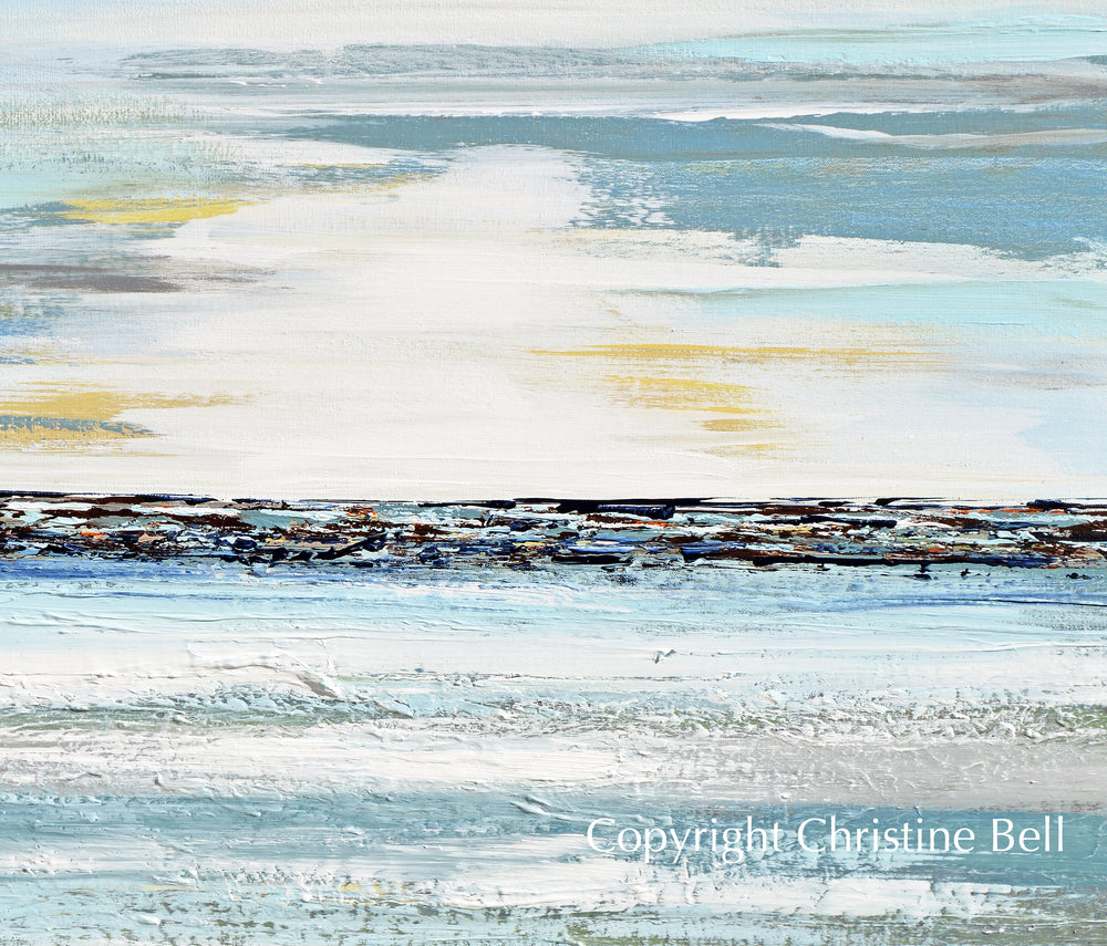 """Contentment"" ORIGINAL Art Coastal Abstract Painting Textured Light Blue Teal White 30x40"""